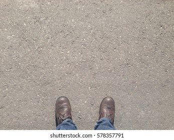 Man standing on the street with copy space