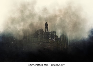 A man standing on top of a mountain. surrounded by clouds. With a grunge, dusty edit.