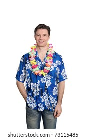 Man standing on white background with hawaiian shirt