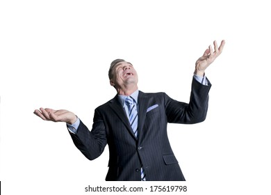 man standing with open arms