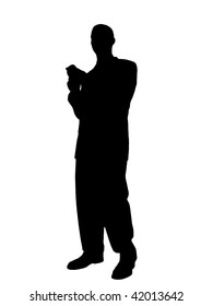 Man Standing Texting on Cell Phone Silhouette isolated on a white background.