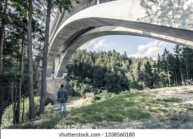man standing under tall bridge surrounded by forest