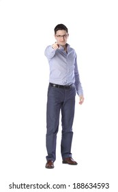 man stands in full growth points in front of a white background