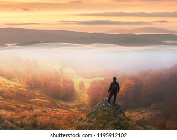 Man stands on background of autumn landscape. Photo manipulation