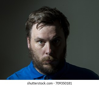 Man staring straight ahead
