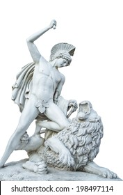 man statue with lion Decorative isolate
