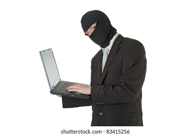 Man stealing data from a laptop isolated on white background