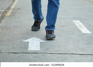 The man step reverse direction