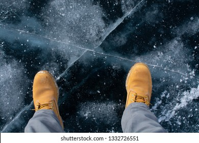 A man stepped on thick ice, nature photography