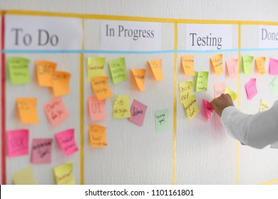 Man with sticker near scrum task board in office