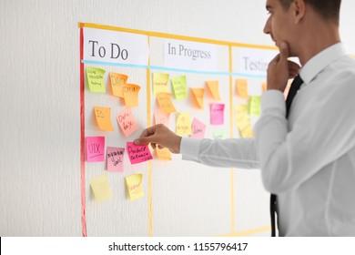 Man with sticker near scrum task board in office