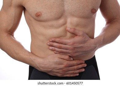 Man with stomach pain. Digestive system, Urinary Tract Infection problems.