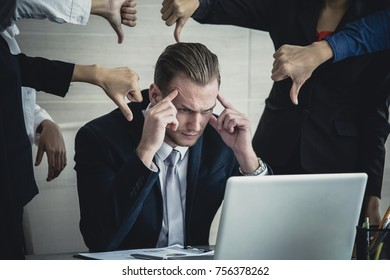 Man in Stress Situation when he missed for business project and team blame him, Businessman Unsuccess for business Project. Vintage Tone.