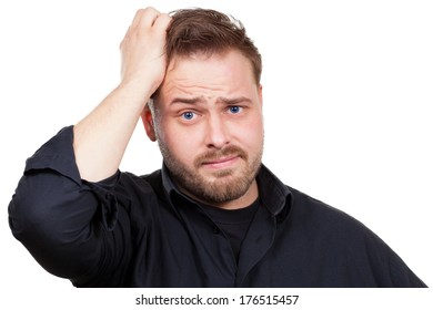 Man is stressed and is looking for an idea