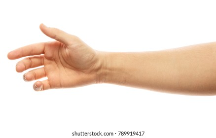 Man stretching hand to handshake isolated on a white background. Man hand ready for handshaking. Alpha