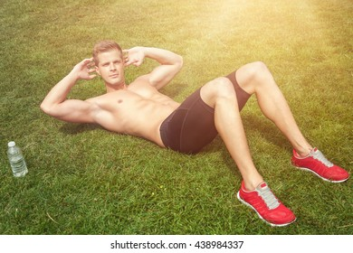 Man stretching out muscles before exercise