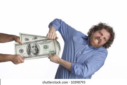 Man struggling to keep his money