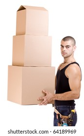 Man struggling while lifting lots of cardboard boxes - moving concept