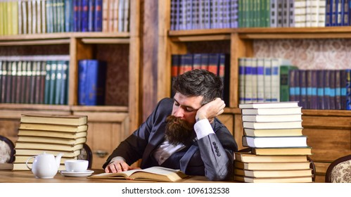 man studies book