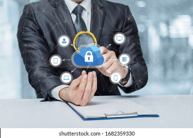 A man is studying the security structure of data storage on a blurred background.