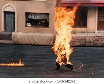 man as stuntman on fire