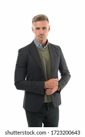 Man of style. Handsome man isolated on white. Serious man in formal style. Fashion look of mature man. Fashion wardrobe. Office style. Business attire. Menswear store. Dressing for work.