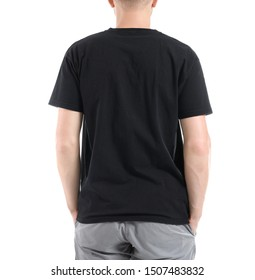 Man in stylish t-shirt on white background, back view