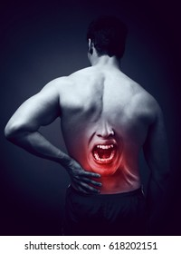 Man suffering back pain concept