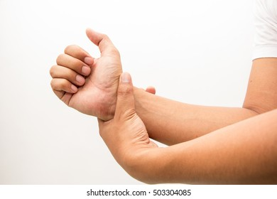 man suffering from elbow joint pain, health care and problem concept