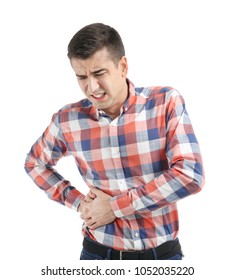Man suffering from flank pain on white background