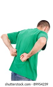 Man suffering from a kidney or back ache pain, isolated on white background