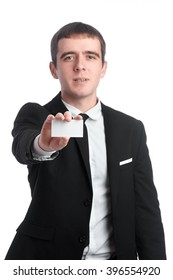 Man in the suit with business card