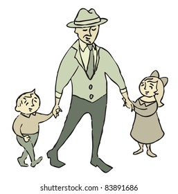 Man in suit, hat and tie walking with girl and boy in dress clothes; dad walking with son and daughter.