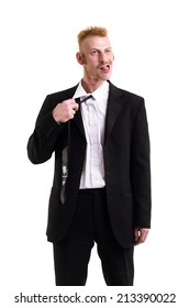 A man in a suit isolated on white