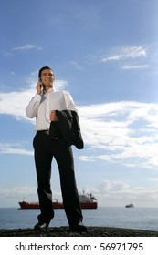 Man in suit with a mobile phone
