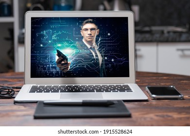 Man in a suit on a digital background holds out the phone. Stock market concept. Double exposure. Mixed media