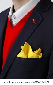 man in suit, suit, red sweater, suit with pocket square