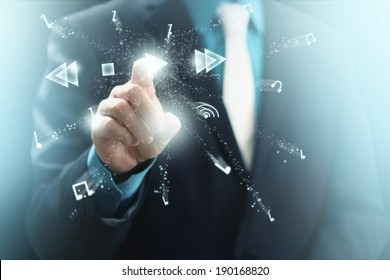 Man in Suit Selecting Floating Play Icon