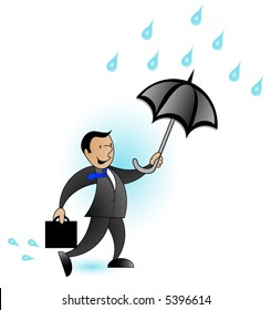 Man in a suit with an umbrella getting rained on, graphic.
