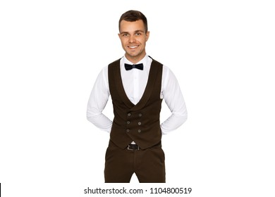 Man in suit and vest in white shirt on white background