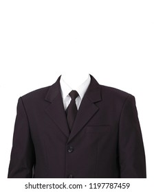 Man Suit Without Head on White Background.