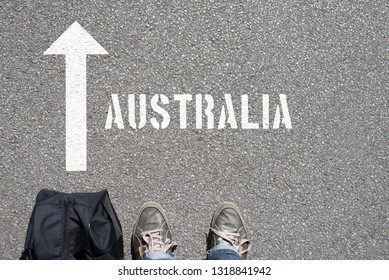 A man with a suitcase travels to Australia