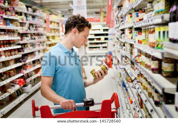 man in supermarket,  grocery store customer
