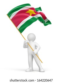 Man and Suriname flag (clipping path included)