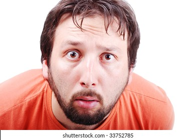 Man with surprised expression on face
