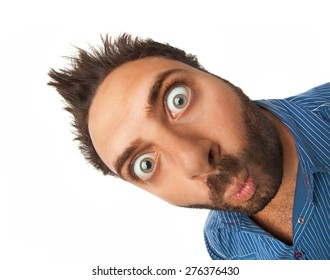 Man with surprised expression on white background