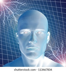 Man surreal with electricity
