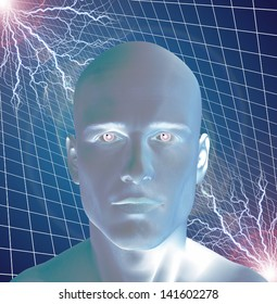 Man surreal with electricty