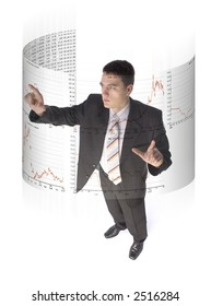 Man surrounded by virtual screen with stock market quotations. White background.