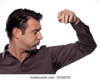 man sweat stain transpiration isolated studio on white background